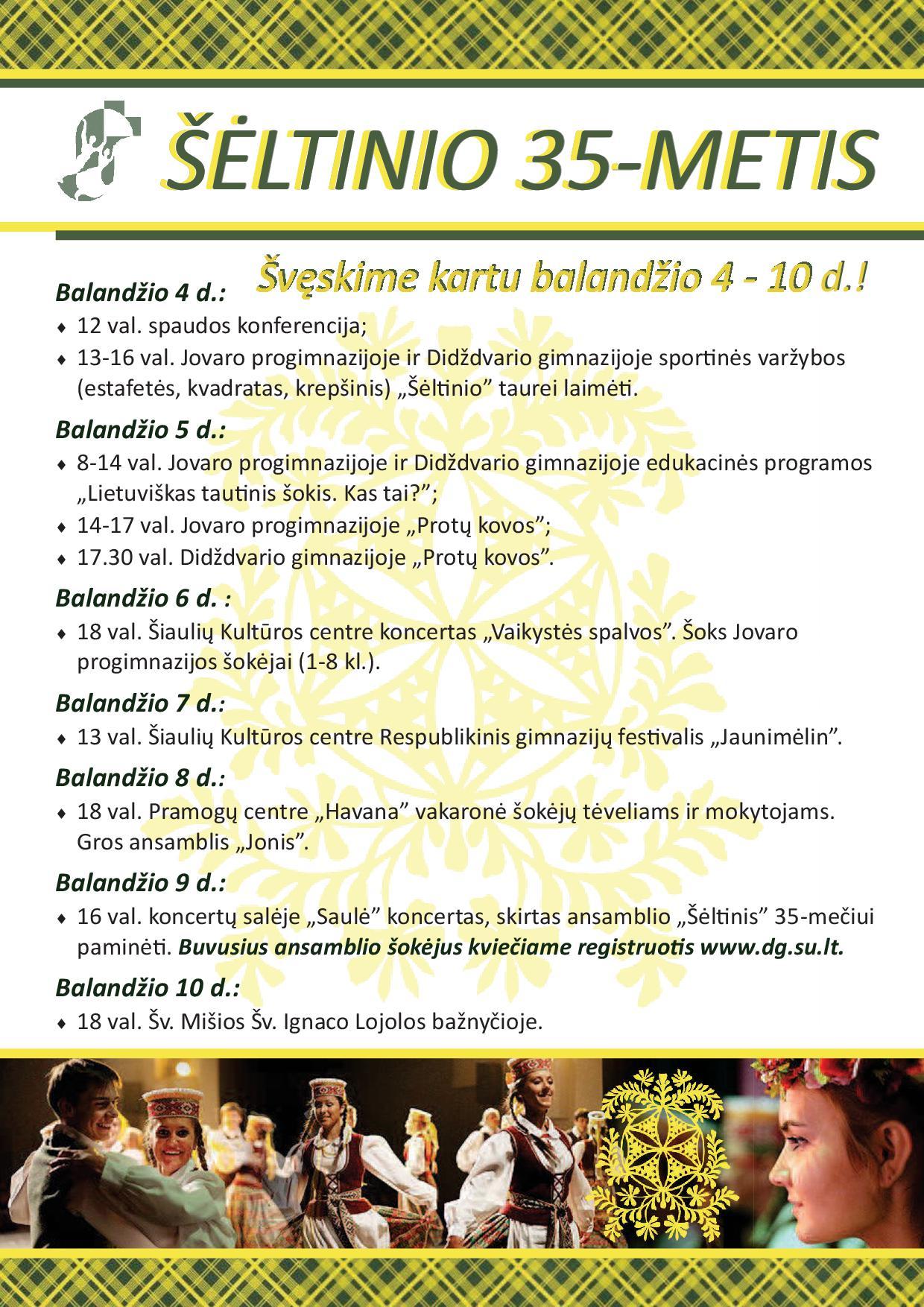 Šėltinio 35-ečio programa